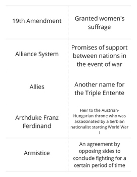 World War I Flashcards