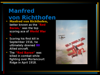 World War I - Flying Aces - Manfred von Richthofen - The Red Baron