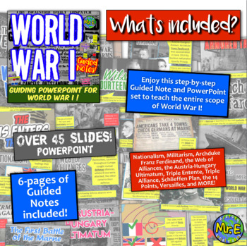 World War I Guided Notes & PPT! Nationalism, Ferdinand, Marne, Versailles & More