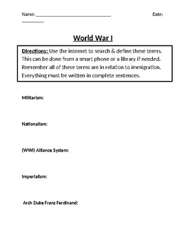 World War I Homework Definitions