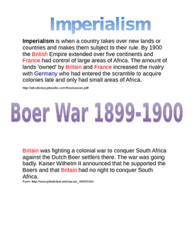 World War I: Imperialism poster assignment