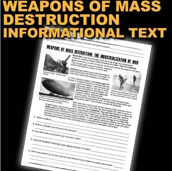 World War 1 Trench Warfare & Weapons of Mass Destruction Text & Graphic Analysis