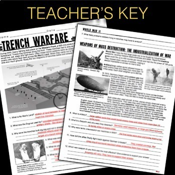 World War 1 Trench Warfare & Weapons of Mass Destruction Text & Graphic Analysis