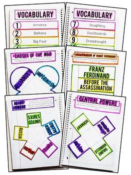 World War I Interactive Notebook & Graphic Organizers