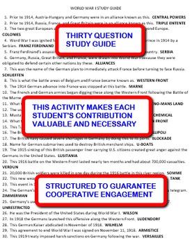 World War I: Interdependent Answer Sheets Activity