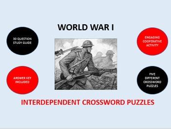 World War I: Interdependent Crossword Puzzles Activity