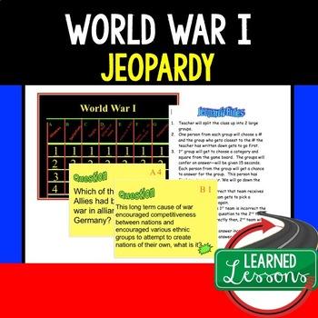 US History World War I Jeopardy