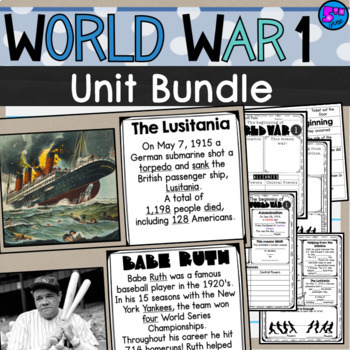 World War I Lesson Unit Bundle 5th grade SS5H2 WWI