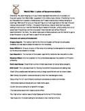 World War I: Letter of Recommendation