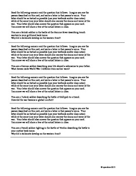 World War I: Letters Home Activity