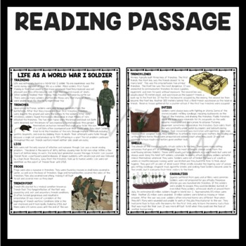 World War I Life of a Soldier Reading Comprehension Worksheet, WWI, trench
