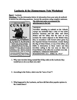 World War I: Lusitania and Zimmerman Note Telegram