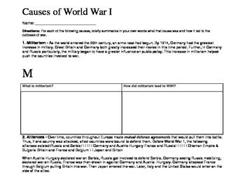 world war i main causes of war by amy cheresnowsky tpt. Black Bedroom Furniture Sets. Home Design Ideas
