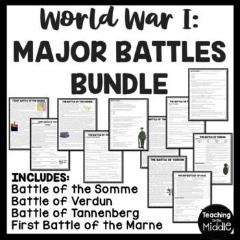 World War I- Major Battles, chart, articles, questions, Ve