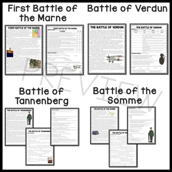World War I- Major Battles, chart, articles, questions, Verdun, Somme, worksheet