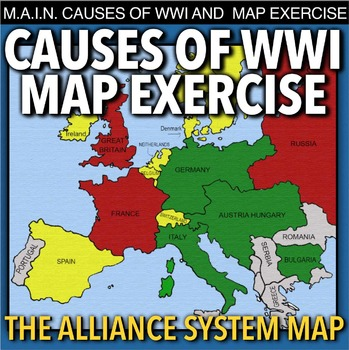 World War I Map Activity & MAIN Causes (WW1) by Lesson Plan Ninja