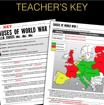 World War I Map Activity & MAIN Causes (WW1) by Lesson ...