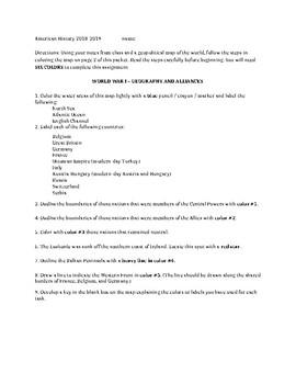 World War I Map Worksheet