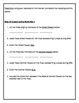 World War I Mapping Activity