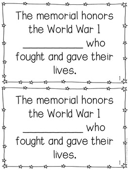World War I Memorial Mini-Books