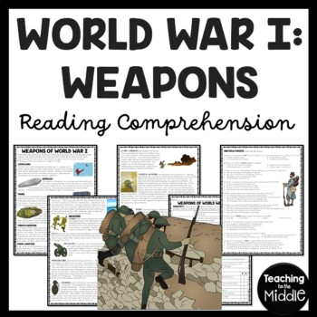 World War I- Modern Warfare weapons reading comprehension worksheet, WWI