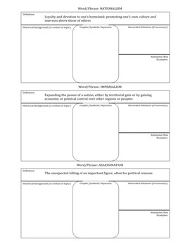 Graphic Organizer: Causes of World War I (WW1)