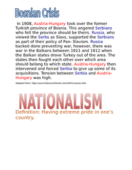 World War I: Nationalism poster assignment