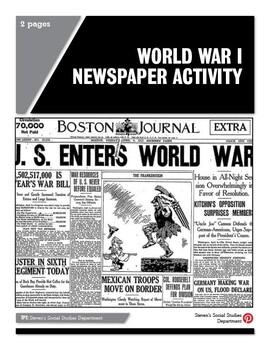World War I Newspaper Activity