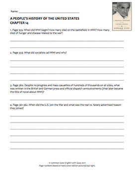 World War I Nonfiction Reading Response Questions, Answer Key + Google Doc