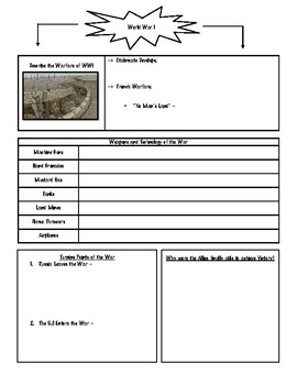 World War I Note Packet (Graphic Organizers)