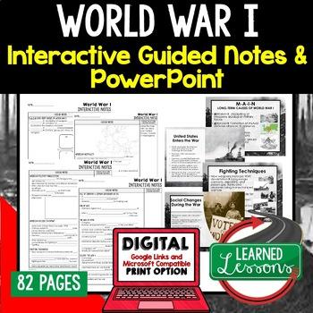 World War I Notes & PowerPoints, US History, Print, Digital, Google
