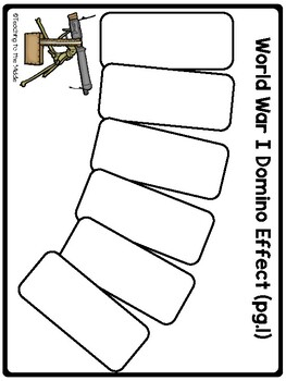 World War I (One) Domino Effect Cut and Paste Activity; Causes; Interactive