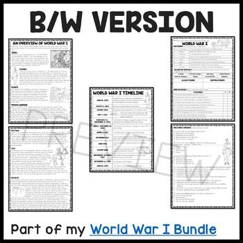 World War I Overview Reading Comprehension Worksheet