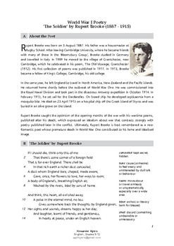 World War I Poetry: The Soldier by Rupert Brooke