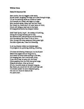 """wilfred owen comparing poetry Wilfred owen's """"greater love"""" poem consists of four stanzas with an aabbba rhyme scheme the poem's textual structure  comparing ww1 poetry."""