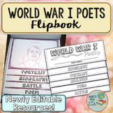World War I Poets Primary Source Analysis Flipbook