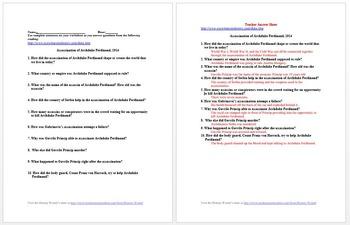 World War I Political Primary Source Worksheet Collection