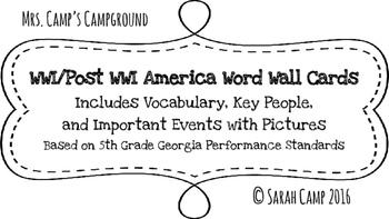 World War I/Post WWI America Word Wall/Bulletin Board Cards