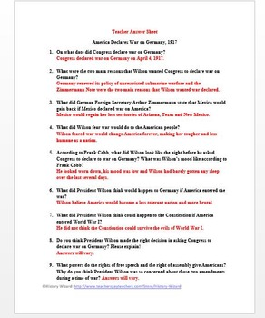 World War I Primary Source Worksheet: America Declares War on Germany, 1917