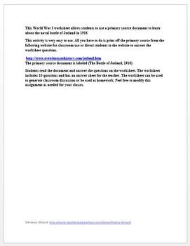 World War I Primary Source Worksheet: Battle of Jutland