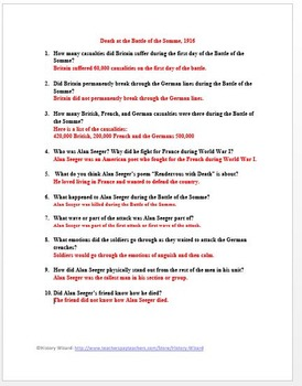 World War I Primary Source Worksheet: Death at the Battle of the Somme