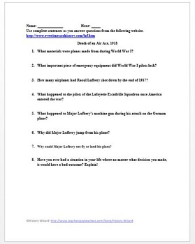 World War I Primary Source Worksheet: Death of an Air Ace, 1918