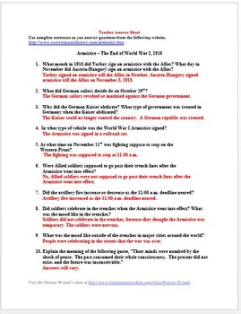 End of World War I and the 1918 Armistice Primary Source Worksheet
