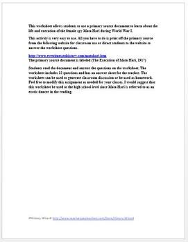 World War I Primary Source Worksheet: Execution of Mata Hari