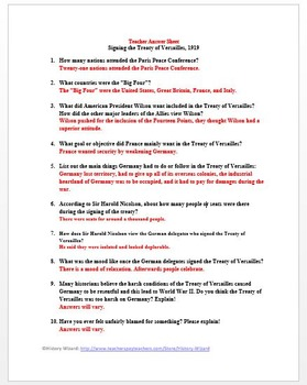 World War I Primary Source Worksheet: Signing the Treaty of Versailles, 1919