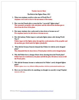 World War I Primary Source Worksheet: The Birth of the Fighter Plane, 1915