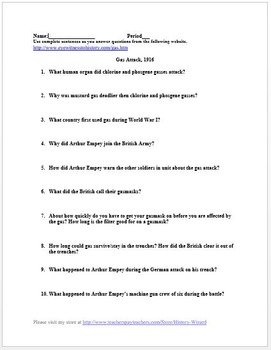 World War I Primary Source Worksheet: Trench Warfare and Poison Gas