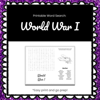 World War I Printable Word Search Puzzle