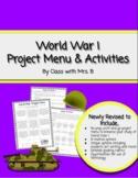 World War I Project Menu