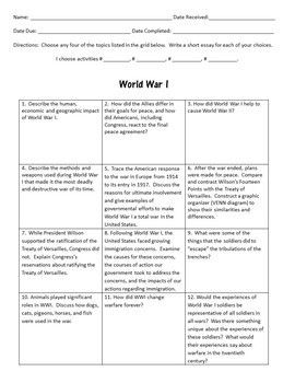 World War I Projects and Reviews